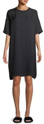 Vince Ribbed-Trim Short-Sleeve Shift Dress