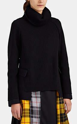 Sacai Women's Melton-Inset Wool Turtleneck Sweater - Black Pat.