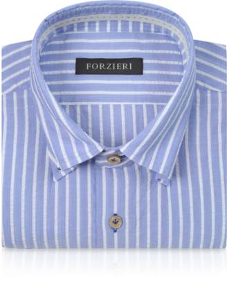 Forzieri Slim Fit Striped Light Blue and White Cotton Shirt