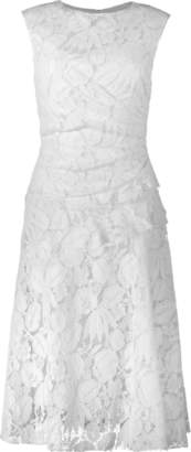 Oscar de la Renta Gathered Waist Lace Dress