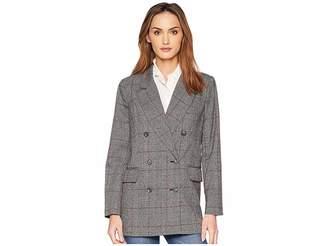 CeCe Long Sleeve Menswear Plaid Oversized Blazer