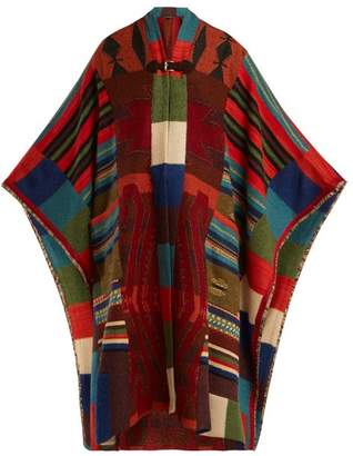 Etro Fringed Geometric Jacquard Knit Cardigan - Womens - Red Multi
