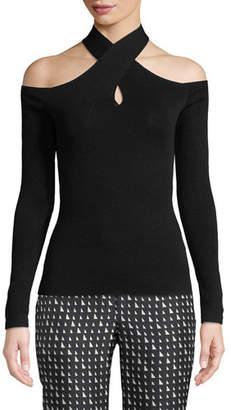 Theory Mock-Neck Crossover Long-Sleeve Sweater