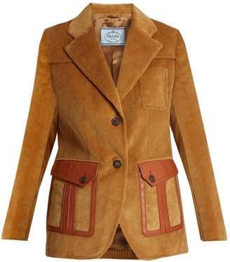 Prada Leather-trimmed corduroy blazer