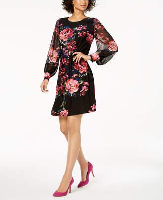 MSK Petite Floral-Print A-Line Dress
