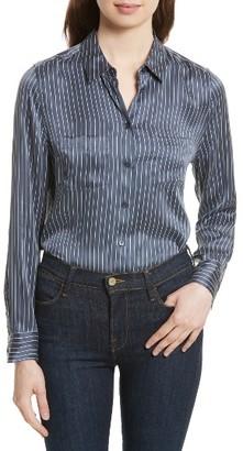 Women's Equipment Essential Stripe Silk Pocket Shirt $278 thestylecure.com