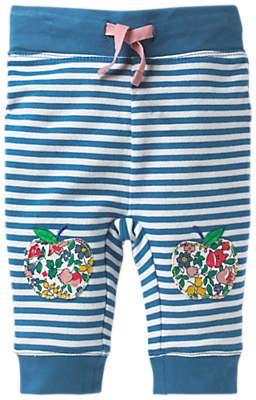 Boden Mini Baby Stripe Appliqué Leggings, Blue/White