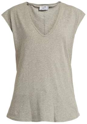 Frame V Neck Cotton Jersey T Shirt - Womens - Grey