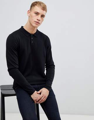 Esprit knitted long sleeve wool blend polo shirt in black