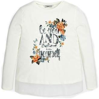 Mayoral Floral-Sequin Graphic Top