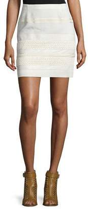 Belstaff Lace Skirt W/Leather Trim, Off White