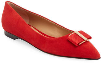 Salvatore Ferragamo Bow Pointed Ballet Flat