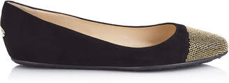 Jimmy Choo WAINE Black Suede and Metal Micro studs Ballet Flats