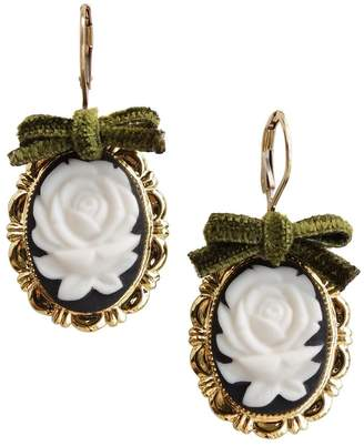 POPORCELAIN - Dark Romance Rose Oval Porcelain Cameo Earrings