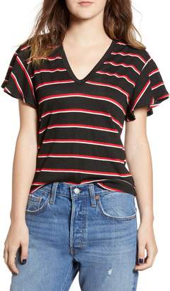 ALL IN FAVOR Stripe Flutter Sleeve Tee