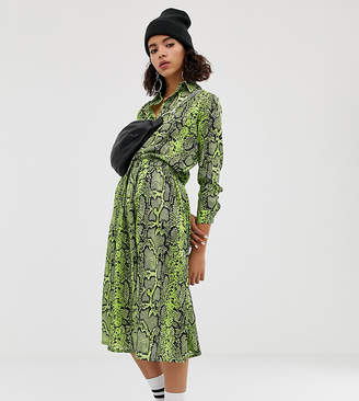 huge discount 1cc7e 9bd45 NA-KD Na Kd neon snake print skirt in green