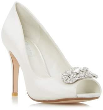 Dune Ivory 'Dolley' Jewel Trim Peep Toe Court Shoe