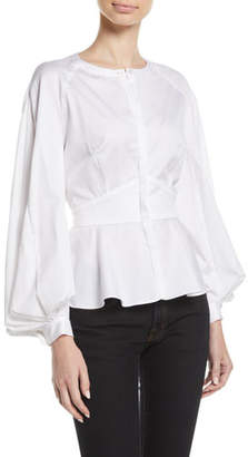 Zac Posen Pleated-Sleeve Collarless Button-Front Fitted Cotton Blouse