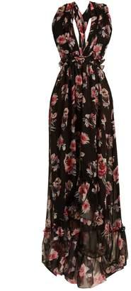 MSGM Silk-chiffon floral long dress