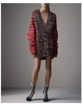Burberry Cashmere Wool Blend Mouline Oversized Cardigan