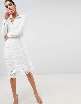Lipsy Lace Fluted Hem Skirt