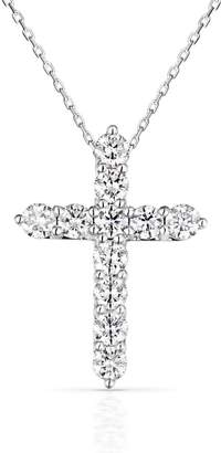 John Greed 18ct White Gold 0.75ct Diamond Cross Necklace