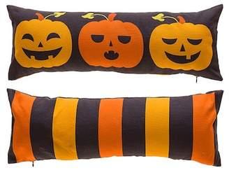 3 Expressive Pumpkins Sitting On A Shelf to Orange/Black Stripe Reversible Decorative Pillow