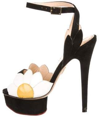 Charlotte Olympia Leather Floral Sandals