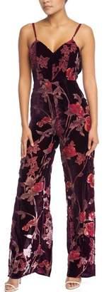Luxxel Burnout-Velvet Floral Jumpsuit