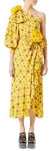 Gucci Gucci Little Flower Georgette One-Shoulder Gown, Yellow