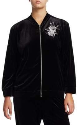 Joan Vass Plus Embroidery Velvet Jacket