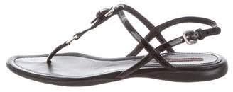 Prada Sport Patent Leather T-Strap Sandals