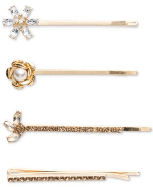 lonna & lilly Gold-Tone 4-Pc. Set Crystal & Imitation Pearl Bobby Pins