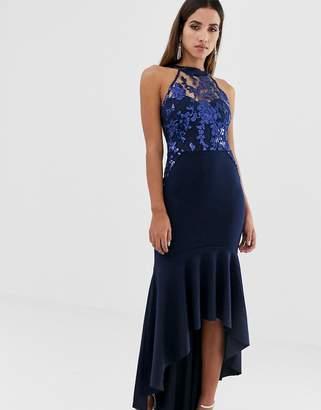 Lipsy sequin halter maxi dress with peplum hem