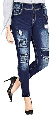 City Chic Plus Harley Distressed Patched Skinny Jeans in Dark Indigo