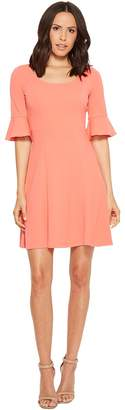 Donna Morgan Short Sleeve A-Line with Princess Seams and Flutter Sleeve Women's Dress