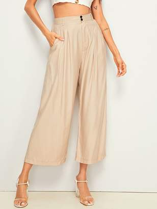 Shein High Rise Wide Leg Solid Pants