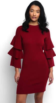 Elan International Ruffle Tiered Sleeve Solid Sweater Dress