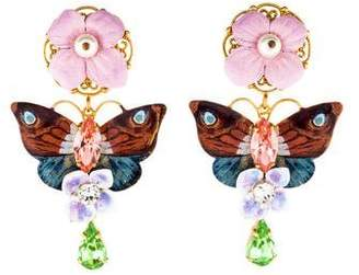 Dolce & Gabbana Hydrangea & Butterfly Embellished Drop Earrings