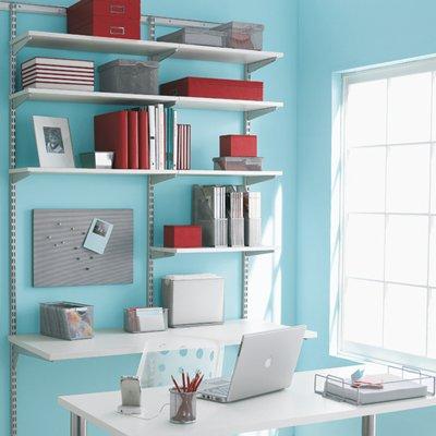 White & Platinum elfa Office Shelving & Desk