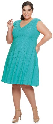 Plus Size Suite 7 Shirred Fit & Flare Dress