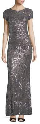 Betsy & Adam Sequined Floor-Length Gown