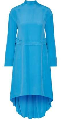 Cédric Charlier Asymmetric Pleated Crepe Dress