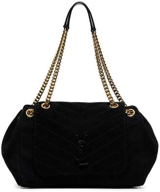 Saint Laurent black Nolita large quilted suede shoulder bag