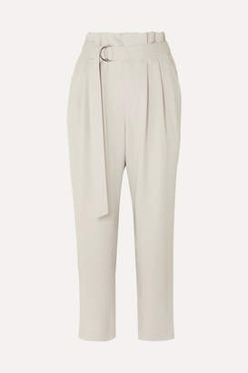 Brunello Cucinelli Belted Cropped Wool-blend Gabardine Tapered Pants - Beige