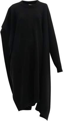 Maison Margiela Single Sleeve Wool Poncho - Womens - Black