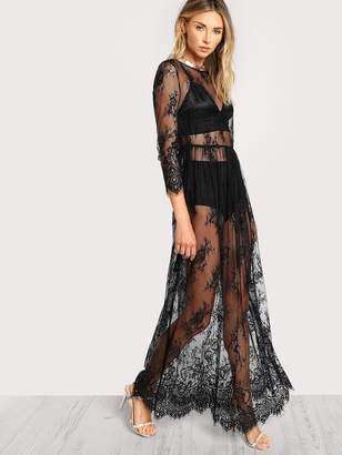 Shein Split Back Sheer Floral Lace Maxi Dress Without Lingerie Set