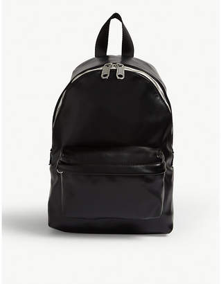 Logo tape faux-leather backpack