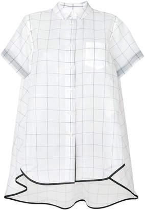 Sacai grid print organza shirt