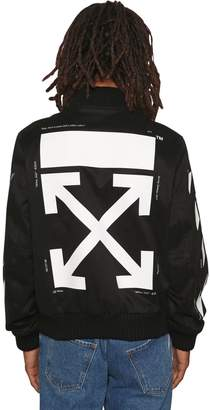 Off-White Slim Fit Printed Cotton Bomber Jacket